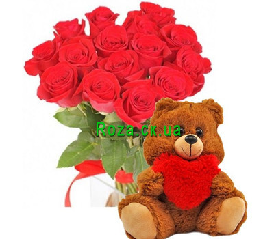 """15 roses and a bear"" in the online flower shop roza.ck.ua"