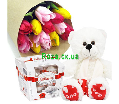 """15 tulips, white Bear and Raffaello"" in the online flower shop roza.ck.ua"