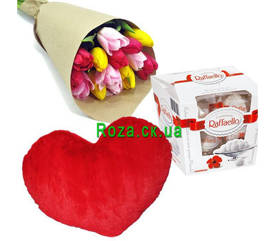 """15 tulips, heart and rafaello"" in the online flower shop roza.ck.ua"