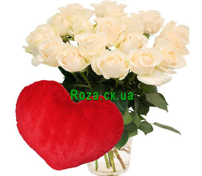 """19 white roses and heart"" in the online flower shop roza.ck.ua"