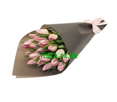 """""""19 pink tulips in paper"""" in the online flower shop roza.ck.ua"""