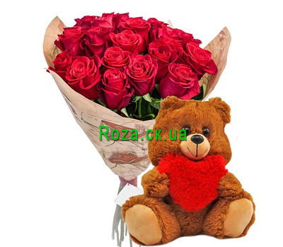 """21 rose and teddy bear"" in the online flower shop roza.ck.ua"