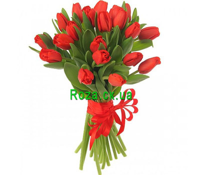 """25 red tulips"" in the online flower shop roza.ck.ua"