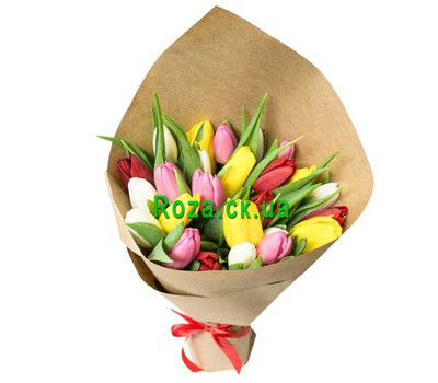 """25 tulips in paper"" in the online flower shop roza.ck.ua"