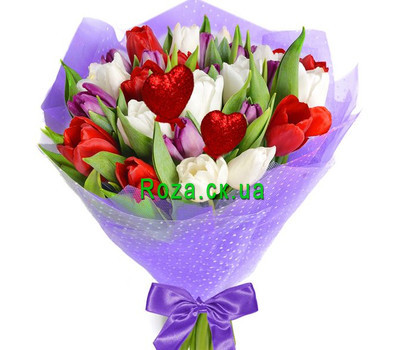 """35 multi-colored tulips for your beloved"" in the online flower shop roza.ck.ua"
