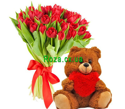 """35 tulips and teddy bear"" in the online flower shop roza.ck.ua"