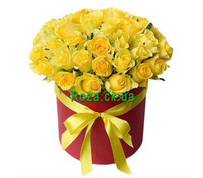 """35 yellow roses in a box"" in the online flower shop roza.ck.ua"