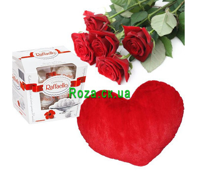 """5 roses heart and rafaello"" in the online flower shop roza.ck.ua"