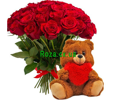 """""""51 rose and teddy bear"""" in the online flower shop roza.ck.ua"""
