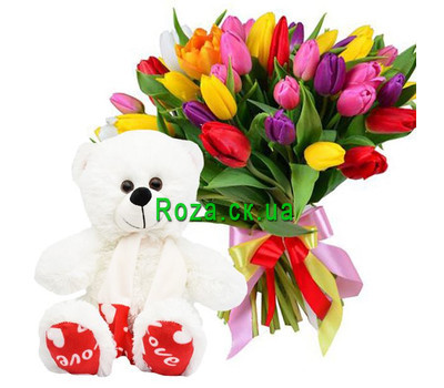 """51 tulip and white Teddy bear 40 cm"" in the online flower shop roza.ck.ua"