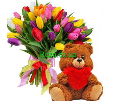 """51 tulip and teddy bear"" in the online flower shop roza.ck.ua"