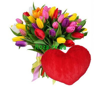 """51 tulip and pillow heart"" in the online flower shop roza.ck.ua"