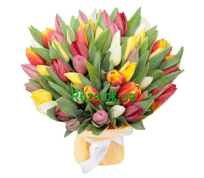 """65 tulips in a bouquet"" in the online flower shop roza.ck.ua"