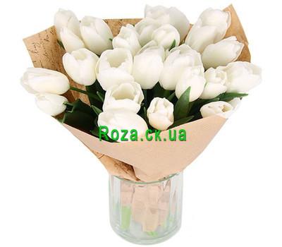 """White Tulips in Kraft"" in the online flower shop roza.ck.ua"