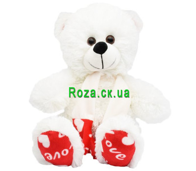 """White teddy bear with scarf"" in the online flower shop roza.ck.ua"