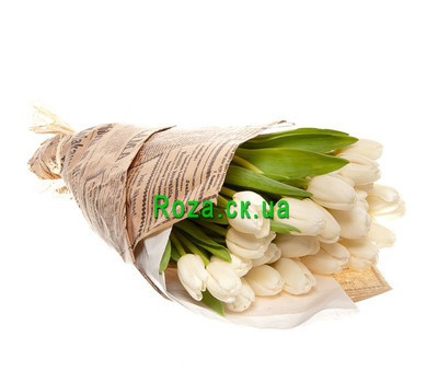 """""""Bouquet of white tulips in paper"""" in the online flower shop roza.ck.ua"""