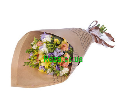 """""""Bouquet of freesias in paper"""" in the online flower shop roza.ck.ua"""