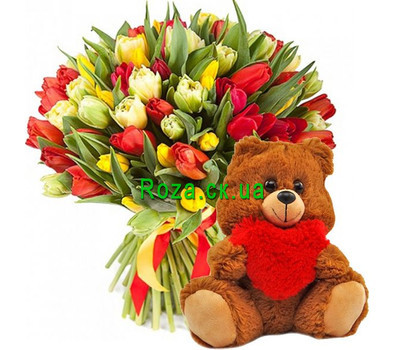 """""""101 тюльпан и мишка"""" в интернет-магазине цветов roza.ck.ua"""