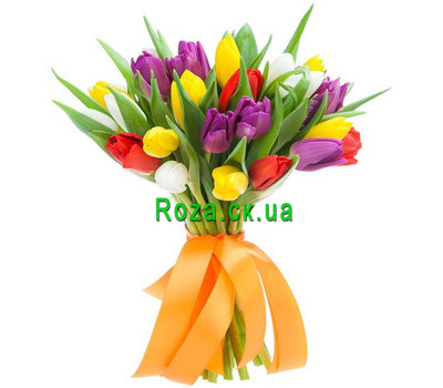 """""""Bouquet of 25 Tulips"""" in the online flower shop roza.ck.ua"""