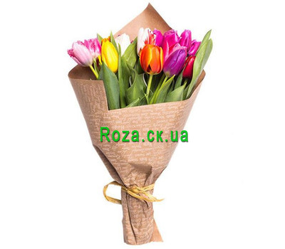 """Bouquet of colorful tulips in the newspaper"" in the online flower shop roza.ck.ua"