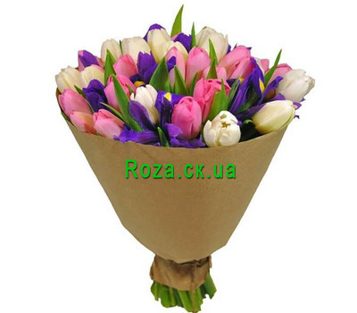 """Wonderful bouquet of irises and tulips"" in the online flower shop roza.ck.ua"