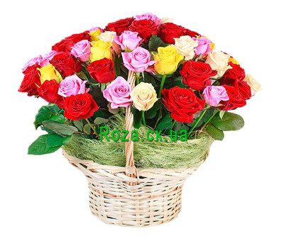"""Basket with different color roses"" in the online flower shop roza.ck.ua"