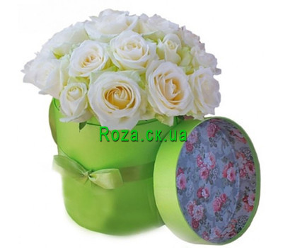 """Nice box of white roses"" in the online flower shop roza.ck.ua"