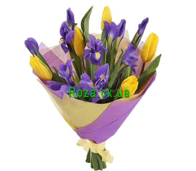 """A small bouquet of irises and tulips"" in the online flower shop roza.ck.ua"
