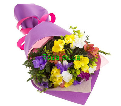 """A small bouquet of freesias"" in the online flower shop roza.ck.ua"