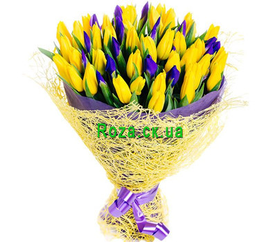 """Popular bouquet of tulips and irises"" in the online flower shop roza.ck.ua"