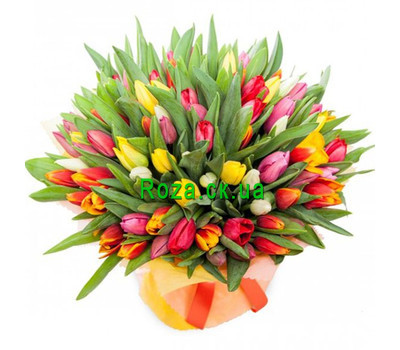 """A beautiful bouquet of 101 tulips"" in the online flower shop roza.ck.ua"