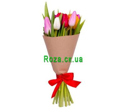"""""""Разноцветные тюльпаны в бумаге"""" в интернет-магазине цветов roza.ck.ua"""