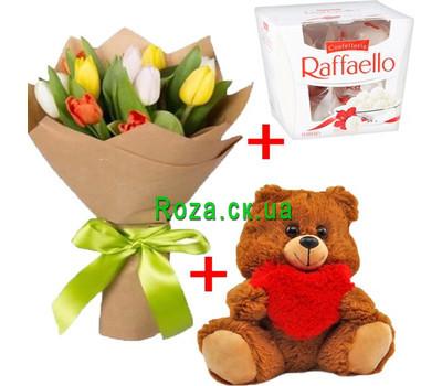 """""""11 тюльпанов+мишка+рафаэлло"""" в интернет-магазине цветов roza.ck.ua"""