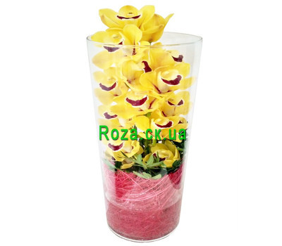 """Yellow orchid Cymbidium in a glass vase"" in the online flower shop roza.ck.ua"