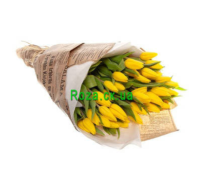 """""""Yellow tulips in paper"""" in the online flower shop roza.ck.ua"""