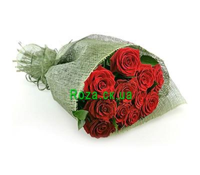 """""""11 роз в сетке"""" в интернет-магазине цветов roza.ck.ua"""