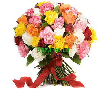 """41 multi-colored rose"" in the online flower shop roza.ck.ua"