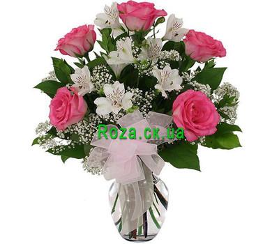 """""""Біло-рожевий букет"""" в интернет-магазине цветов roza.ck.ua"""