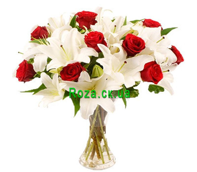 """Large bouquet of lilies and roses"" in the online flower shop roza.ck.ua"