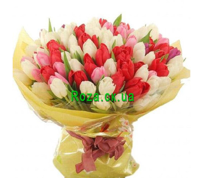 """Large bouquet of tulips"" in the online flower shop roza.ck.ua"