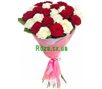 """Bouquet of scarlet and white roses"" in the online flower shop roza.ck.ua"