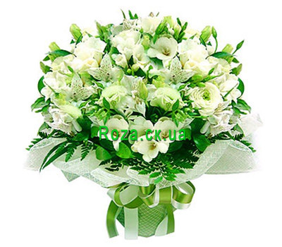 """Bouquet of white roses and alstromeries"" in the online flower shop roza.ck.ua"