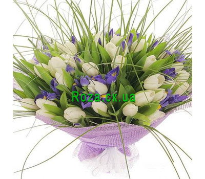 """Bouquet of white tulips and irises"" in the online flower shop roza.ck.ua"