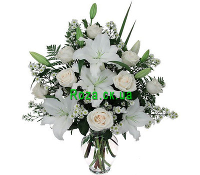 """Bouquet of flowers from roses and lilies"" in the online flower shop roza.ck.ua"