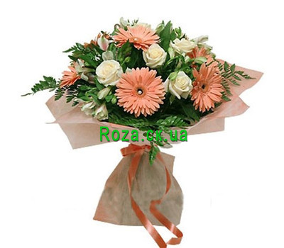 """""""Bouquet of gerberas, alstromeries and roses"""" in the online flower shop roza.ck.ua"""