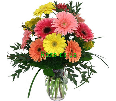 """Bouquet of gerberas with verdure"" in the online flower shop roza.ck.ua"