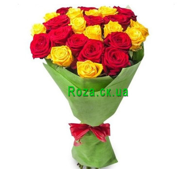 """Bouquet of red and yellow roses"" in the online flower shop roza.ck.ua"