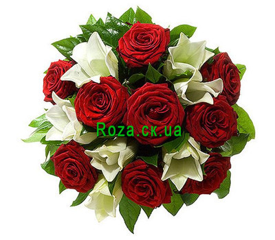 """Bouquet of red roses and white lilies"" in the online flower shop roza.ck.ua"