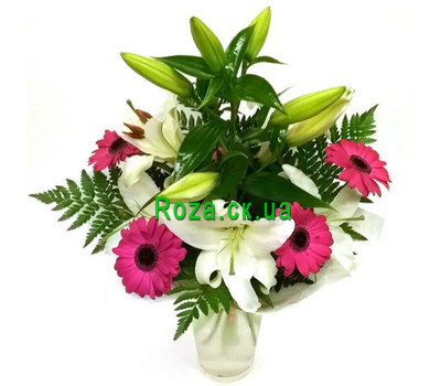 """""""Bouquet of lilies and gerberas"""" in the online flower shop roza.ck.ua"""