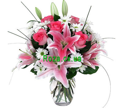 """Bouquet of lilies and roses"" in the online flower shop roza.ck.ua"